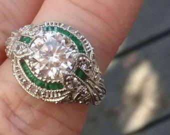 Art Nouveau Style Engagement Ring,Antique Style Engagement Ring