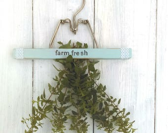"Repurposed Hanging Herb Drying Rack/Chalk Painted French Blue/Hand Lettered ""Farm Fresh""/ Vintage Farmhouse/ Farm to Table"