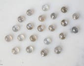 6mm Gray Moonstone rose cut cabochon.  gray shimmer moonstone cab. light gray gem rose faceted moonstone