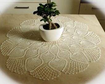 Large crochet doily Pineapple doily White vintage crochet doilies Pineapple crochet doily Lace doily Linen crochet doily 32 inches 419