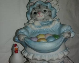 Kitten With Easter Eggs Figurine