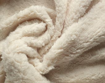 Rich Cream Coloured Luxury Sherpa Fleece Fabric - Soft, Cuddly Texture - 150cm wide - Sold Per Metre