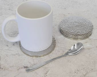 Silver Hammered Metallic Drinks Coaster