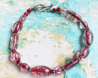 Red Crackle Glass Bracelet with Heart Clasp Accent - Valentine's Bracelet - Love Bracelet - Red Bracelet - Red Beaded Bracelet