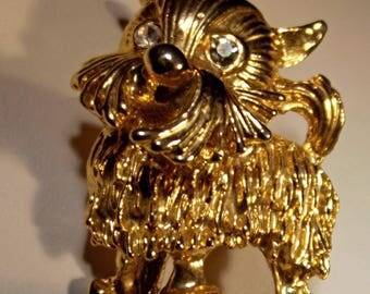 Brooch Vintage Dog Schnauzer Terrier or other Pedigree Crystal Eyes Fabulous Condition Gift for Dog Lover Woman or Teen
