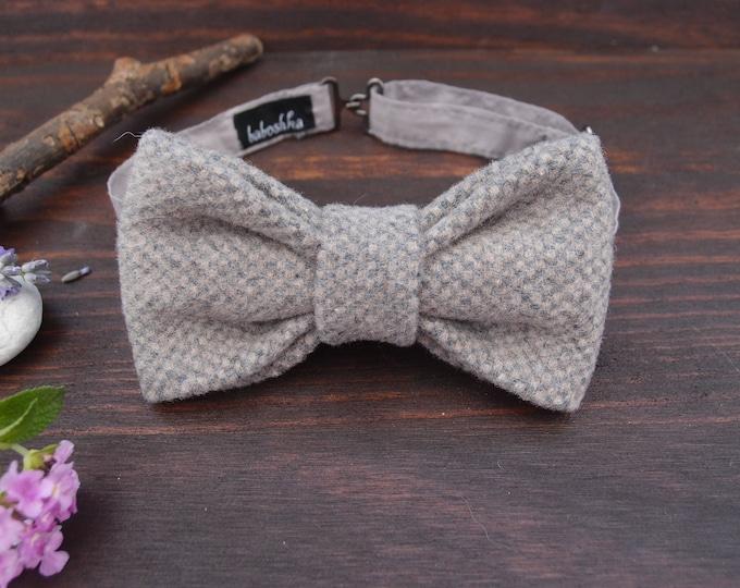 Groomsmen bow tie in grey, mens bowtie gift, mens accessories, grooms bow tie