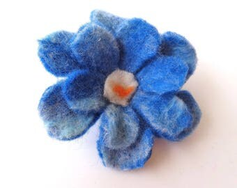Brooch: Blue Merino Wool hand felted flower