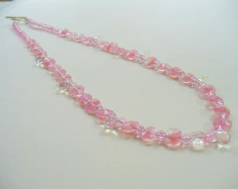 Pink Beaded Necklace, Pink German Glass Bead Necklace, Choker Necklace, Silver Necklace, Pink Necklace, Birthday Gift, Gift for Her