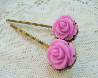 Purple Rose Hairpins, Antique Brass, Crown Hair Clips, Hair Accessories, Flowers, Bobby Pins, Weddings