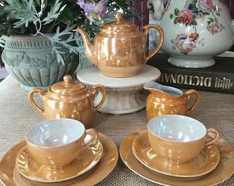 Lovely Lusterware Tea Set for Two made in Japan Peach Orange Lusterware  Mid century tea set 9 pieces