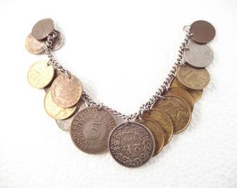 """Amazing Coin Charm Bracelet, Coins from Europe, 1930's to the 50""""s, Clasp Marked 12K"""