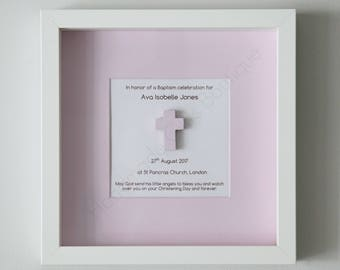 Personalised Baptism/Christening Gift for girls. Framed Baptism/Christening Cross for Girls. Baptism/Christening Gift for Girls. Girls gift.