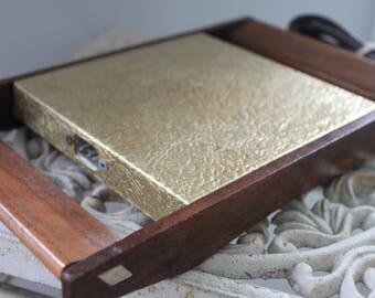 Mid Century Vintage Gold Foil and Teak Food Warming Tray, Server Electric Warmer, Electric warmer, Warming tray, Teak wood