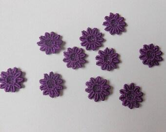 10 mini 12 mm purple lace flower
