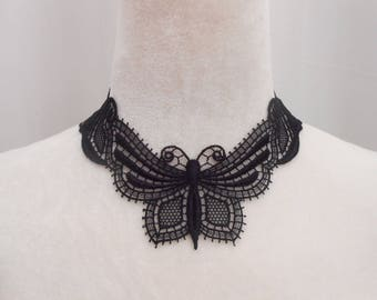 Butterfly Black Lace necklace