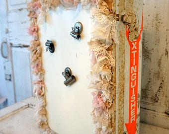 Vintage up cycled first aid cabinet wall hanging rustic chic embellished display or storage tattered lace home decor anita spero design