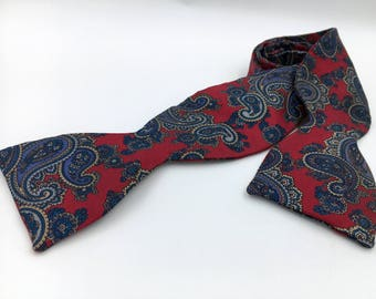 Vintage 1960s Red Silk Butterfly Bow Tie with Blue Paisley Pattern
