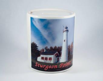 Coin Bank, Sturgeon Point Lighthouse Design, Artistic, Blue, White, Photograph