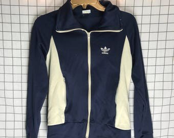 Vintage Blue & White Classic Striped Adidas Track Jacket