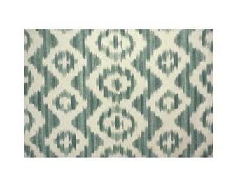 Aqua Green Ikat De Lin Pillow Cover -- Suzanne Rheinstein for Lee Jofa