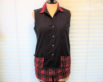 Navy blue and red plaid tunic, upcycled summer shirt, lace color, refashioned clothes, boho shirt, bohemian tunic, size large, 12