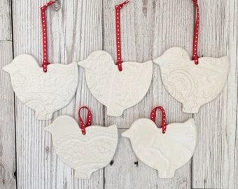Set of 5 ceramic Christmas decorations, birds