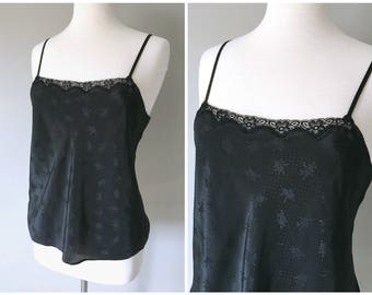 Vintage BLACK CAMI TOP/Printed Camisole/Lingerie Top/Size Small-Medium