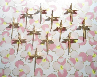 12 Goldplated Crosses with 3mm Round Setting
