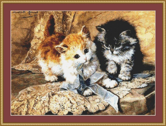 Kittens And Bows Cross Stitch Pattern /Digital PDF Files /Instant downloadable