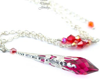 Ruby Swarovski Necklace Ruby Necklace Raspberry Pink Necklace Long Pendant Crystal Prism Bridesmaid Necklace Crystal Necklace Filigree RP36