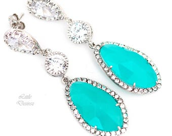 Mint Green Earrings Mint Long Earrings Bridesmaid Gift Teal Green Earrings Green Opal Earrings Cubic Zirconia Jewelry Bridal Earrings MT40PC