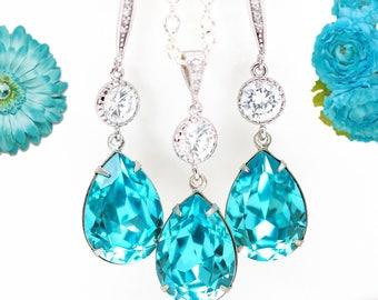 Blue Jewelry Turquoise Earrings Long Earrings CZ Earrings Bridal Earrings Bridesmaid Gift Bridesmaid Earrings Beach Jewelry Ideas TQ31JS