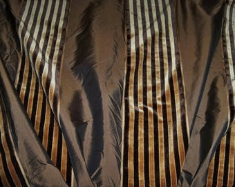 BEACON HILL SILK Velvet Stripes Fabric Remnant 2.5 Yards Brown