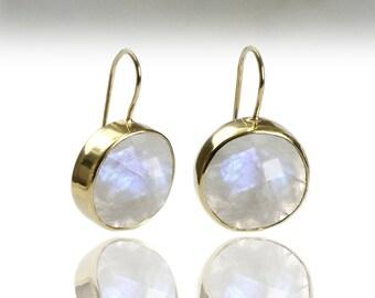 SUMMER SALE - Moonstone earrings,gold earrings,drop bezel earrings,bridal earrings,rainbow moonstone,gemstone