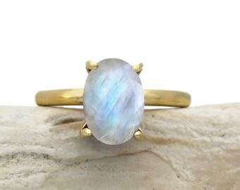 SUMMER SALE - Moonstone ring,oval ring,gemstone ring,gold ring,rainbow moonstone ring,delicate ring,yellow gold ring,gold filled ring