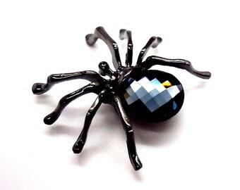 Stunning HALLOWEEN SPIDER Checkerboard Swarovski Brooch
