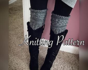 Digital File - Knitting Pattern - Knit Leg Warmers Over the Knee Boot Cuffs