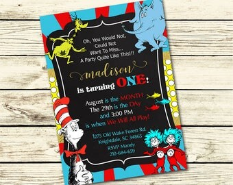 Dr. SEUSS Cat in the Hat BIRTHDAY INVITATION, Dr. Seuss Birthday Party, Cat in the Hat Birthday - Customized Digital Invite