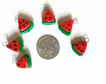 Watermelon slice charms, mini food charms, polymer clay food, fruit slices, kawaii charms, summer charms, tiny food charms, food jewelry