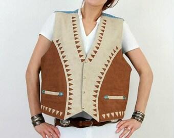 SALE 70s Western Vest / Vintage Western Vest / Souhwestern Vest / Man Large Vest / Man Cowboy Vest / Man Western Vest / Rancha Vest / Gringo