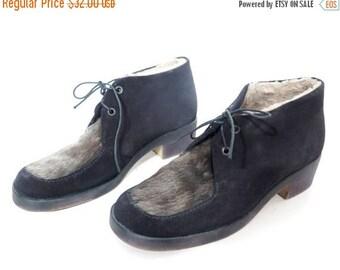 SALE Vintage SIOUX Black Suede and Natural Fur Shoes Size 40 EU / 9 Us