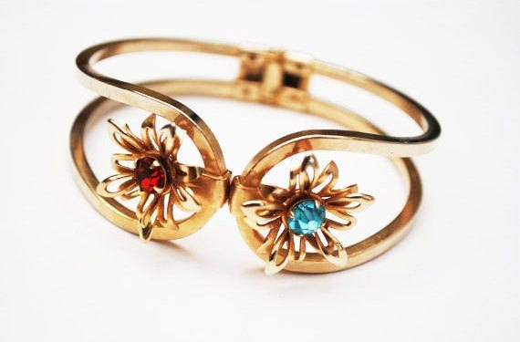 Flower Rhinestone  bracelet - gold Hinge  Clamper Bangle - Red Blue Crystal floral - Mid Century