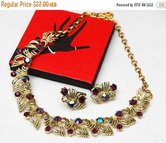 Vintage Purple Rhinestone link necklace earring set  - signed Coro - Cream with gold confetti - Mid century  Necklace