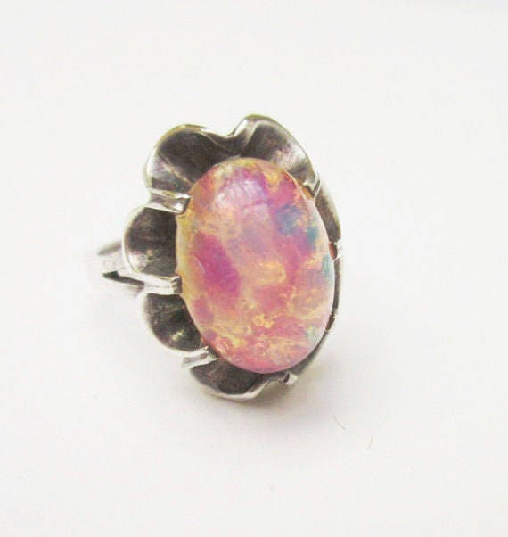 Sterling Pink opal Glass ring -  silver flower pink art glass cabochon  - size 7 ring