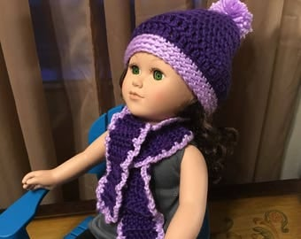 """18"""" doll hat and scarf set, winter set, gift for girl,"""