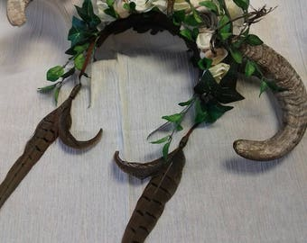 Fairy/pagan rams horn, feather and flower headdress -handmade one of a kind - green and cream