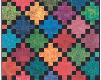 "Laser-Cut Quilt Kits in two colorways  ""Summertime""-Bright and White or ""Midnight"" Black and Batik  Finishes 63x63"