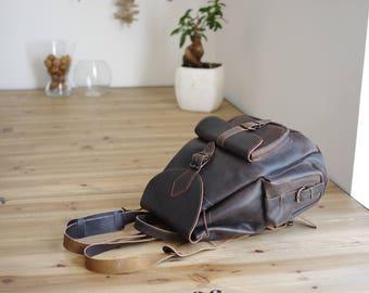 Chestnut brown leather backpack - medium leather bag - women bag - leather handle bag - pocket - school bag - cute bag - lilou online french