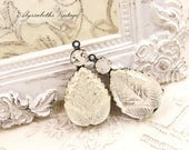 Vintage Crystal Leaf Glass Pear & White/Clear Givre Rhinestone Drops 26x13mm in Raw Brass, Matte Black, Antique Silver Settings – 2