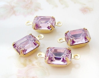 Light Amethyst 10x8mm Swarovski Crystal Stones in Brass, Matte Black, Antique Silver & Brass Ox Settings Drop or Connector Settings - 2